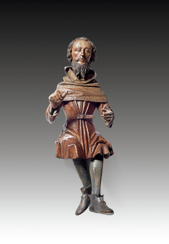 Allemagne du Sud, entourage d'Erasmus Grasser, vers 1480-1500. Musicien, tilleul sculpté en ronde bosse polychrome et or, h.87cm. Adjugé