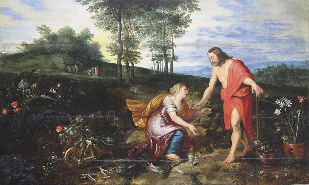 Jan Bruegel le Jeune (1601-1678) et atelier de Pierre Paul Rubens, Le Christ jardinier: Noli me tangere, panneau parqueté, 61,5x100,7c