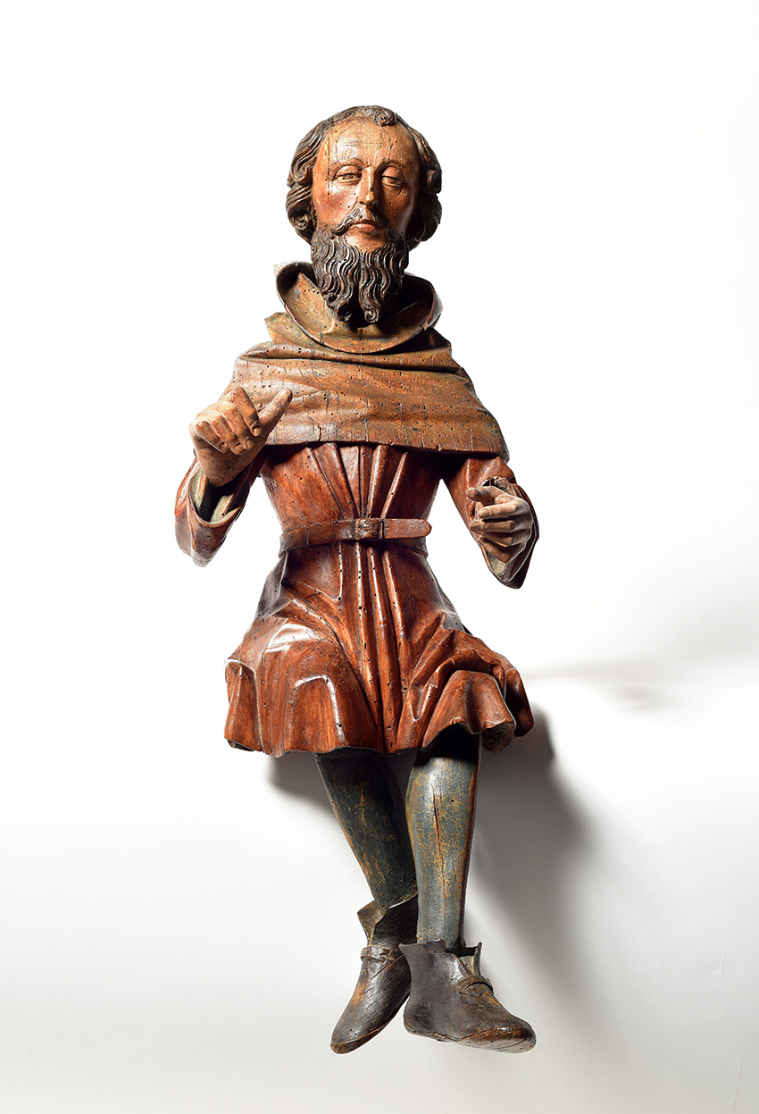 Southern Germany, circle of Erasmus Grasser, c. 1480-1500, polychrome and gold limewood Musician carved in the round h. 87 cm.Result: €22,