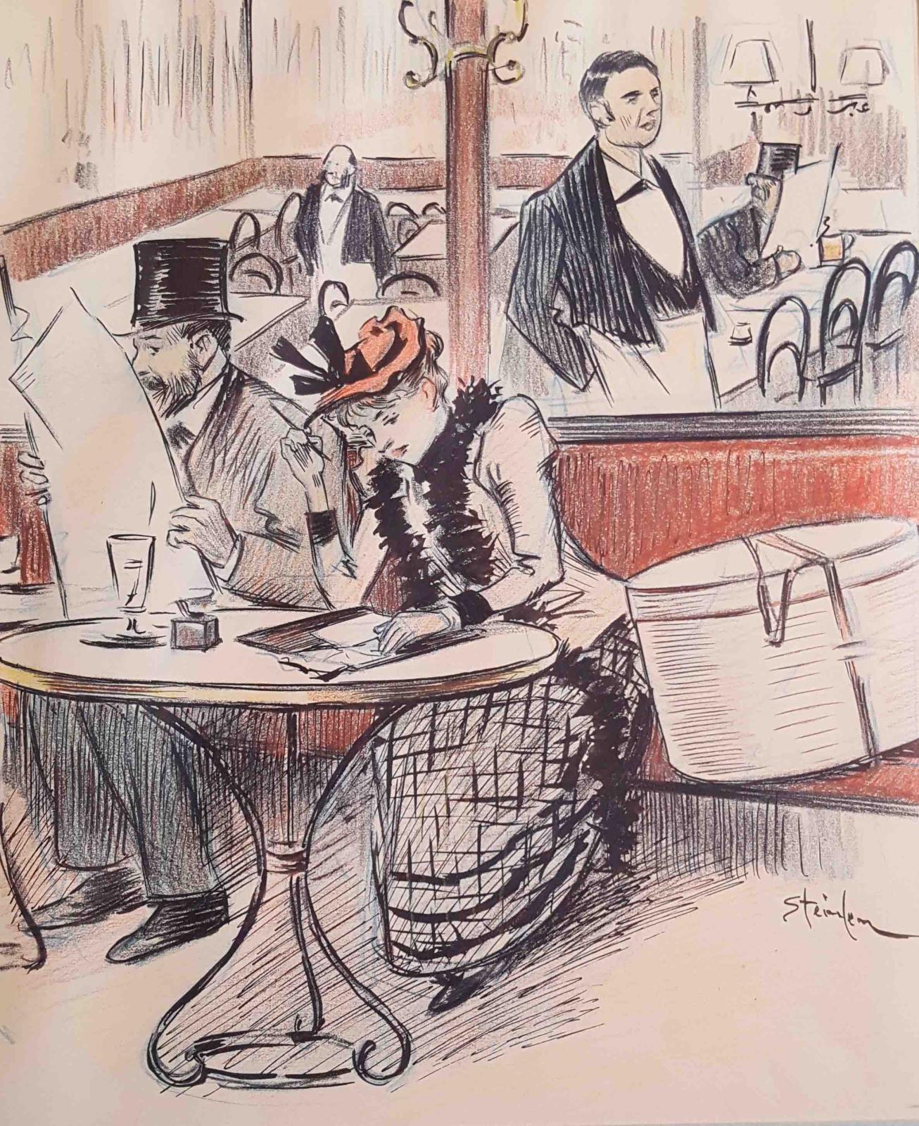 Dessin original pour « Lettre trouvée », nouvelle de Paul Arène.Paru dans le Gil Blas illustré, le 24 septembre 1893.Crayon gras, encre de