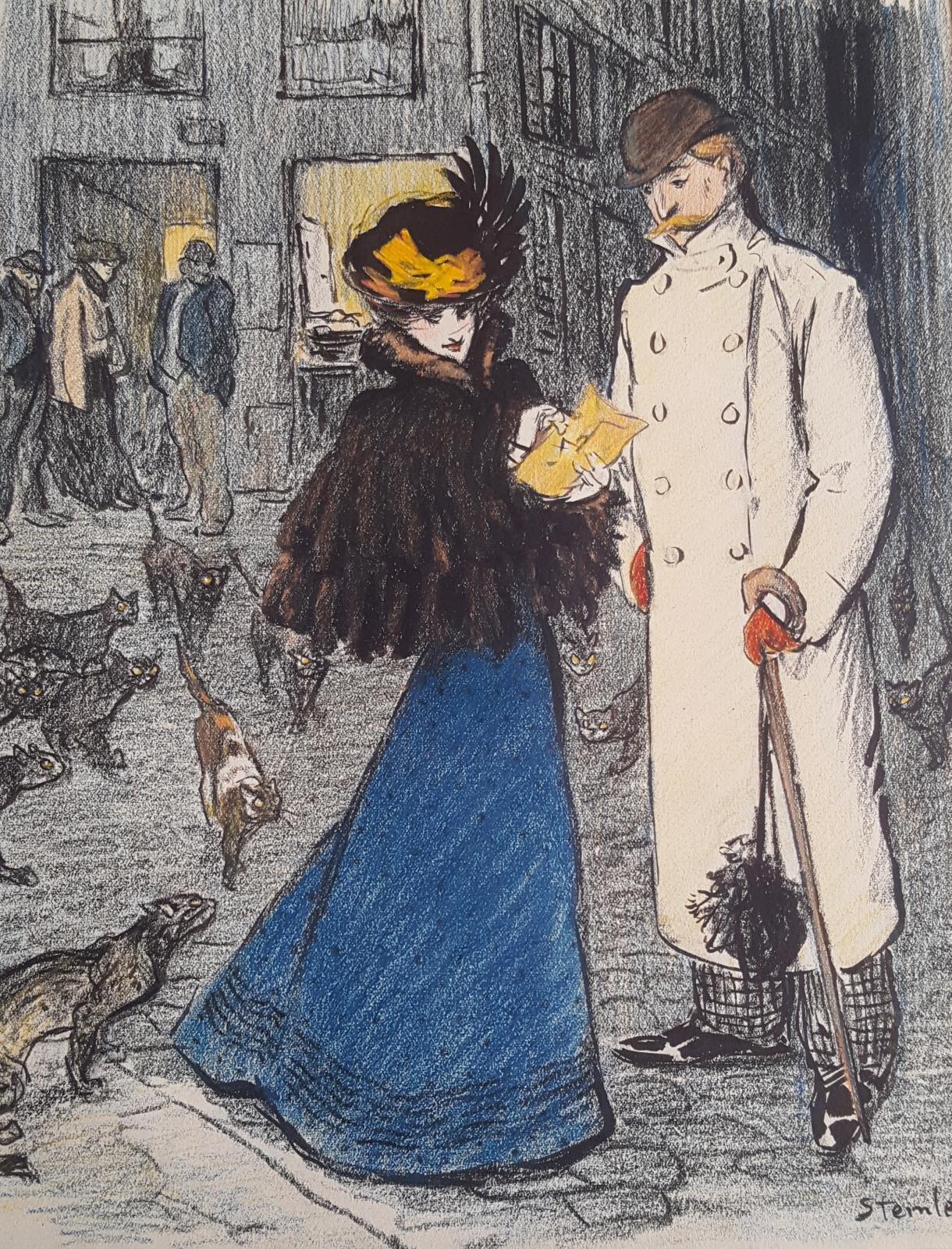 Dessin original pour « La Cendre », nouvelle de Maurice Donnay.Paru dans le Gil Blas illustré, le 4 mars 1898.Crayon gras, encre de Chine
