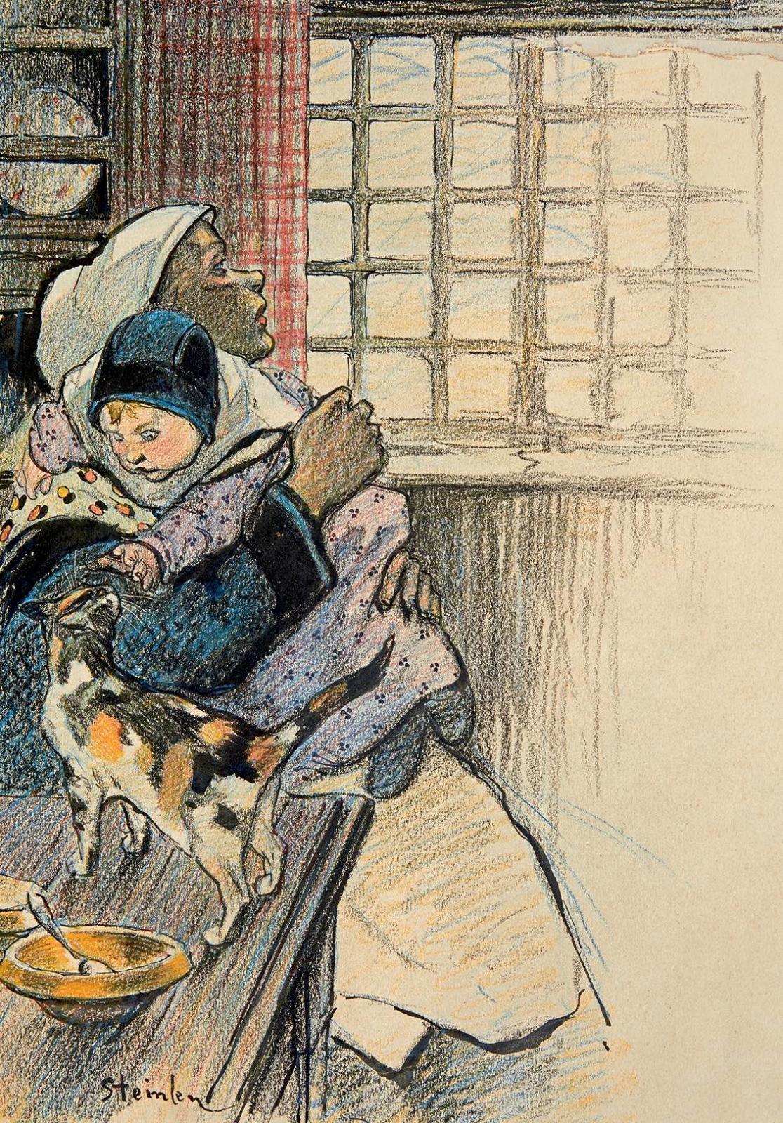 Dessin original pour la berceuse « Femme de chagrin », poésie de Léon Durocher, musique de Désiré Dihau.Paru dans le Gil Blas illustré, le