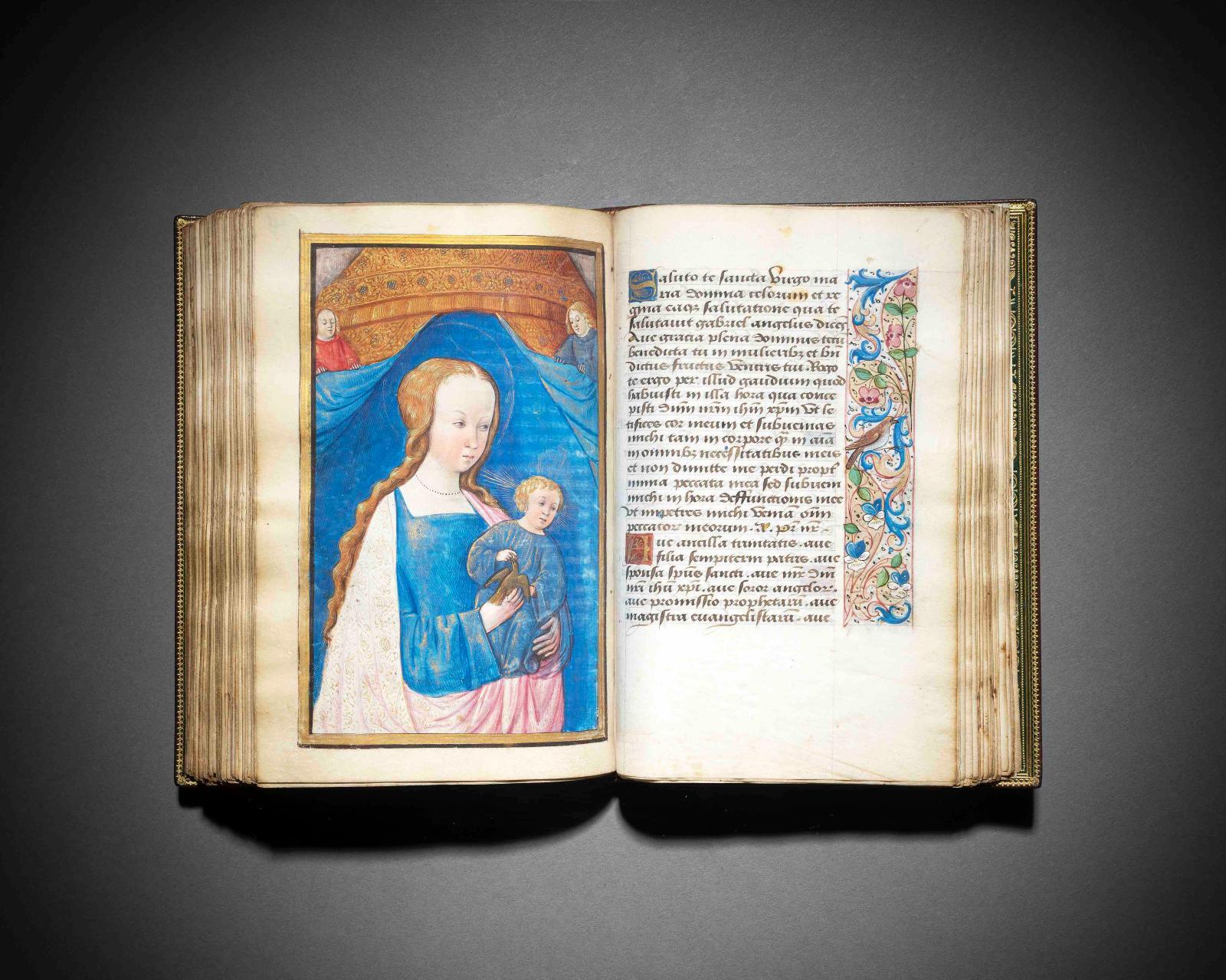 « Heures de G et H »Feuillet 105,Vierge à l'Enfant, avec oiseau