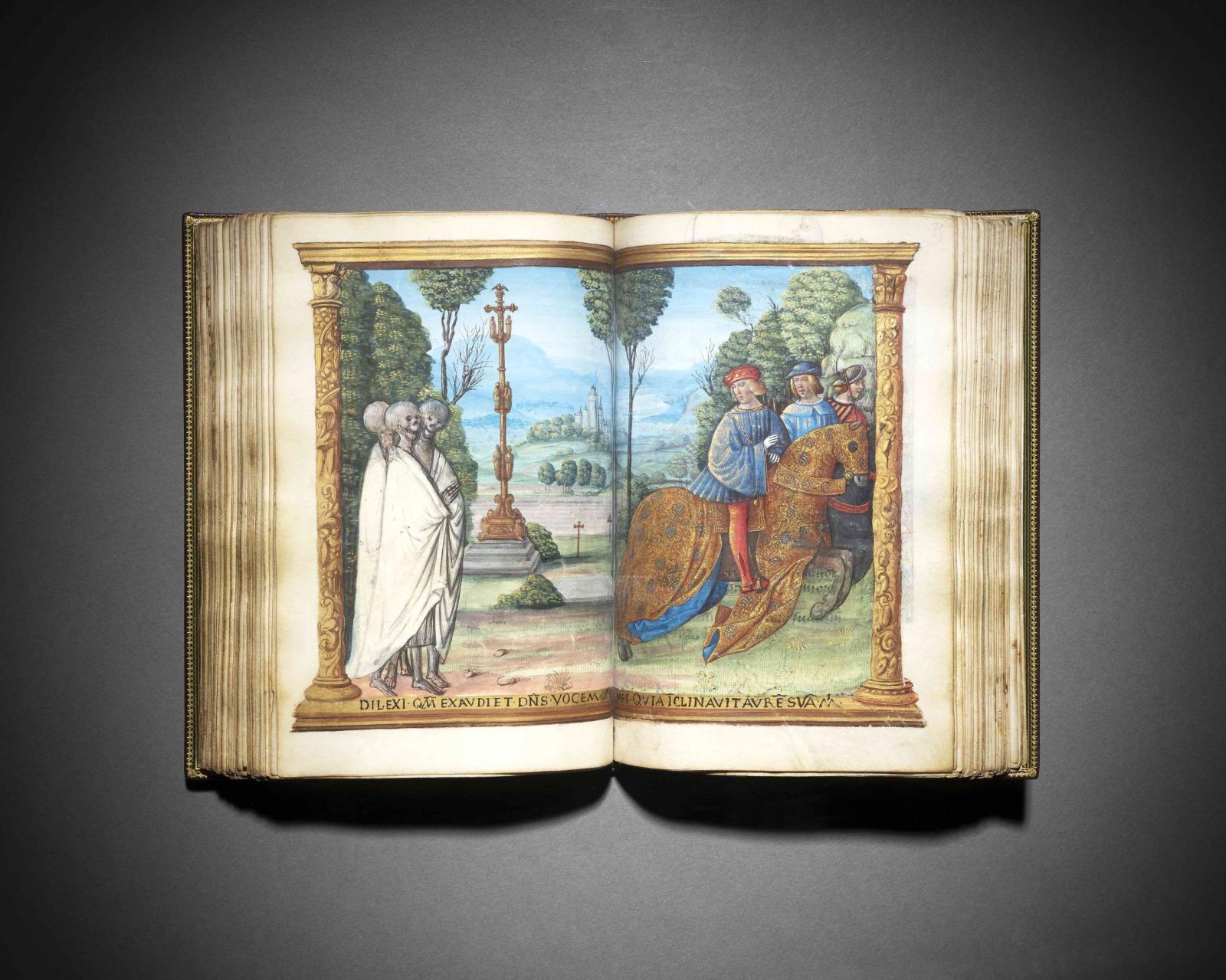 ff. 74v-75, diptyque, double pleine page, Les trois morts et les trois vifs [encadrement architecturé] ;