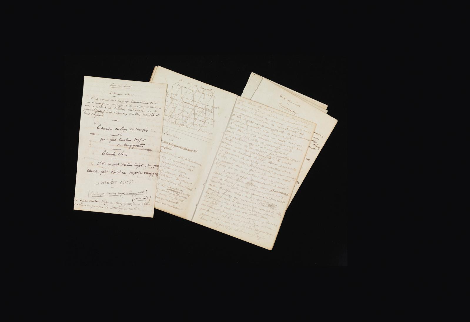 Alphonse Daudet, «La dernière classe» et «L'employé», manuscrits et notes autographes pour plusieurs nouvelles parues dans Les Contes du l