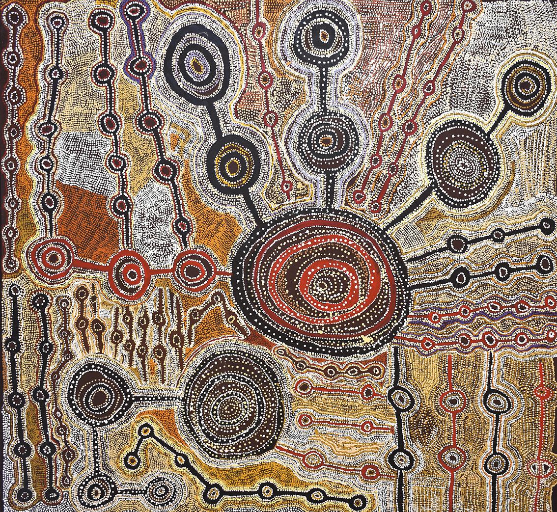 Taylor Cooper (né vers 1940), Malara: Wanampi Tjukurpa, 2018, acryliquesur toile, 196x184cm (détail). Galerie Stéphane Jacob. © TAYLOR