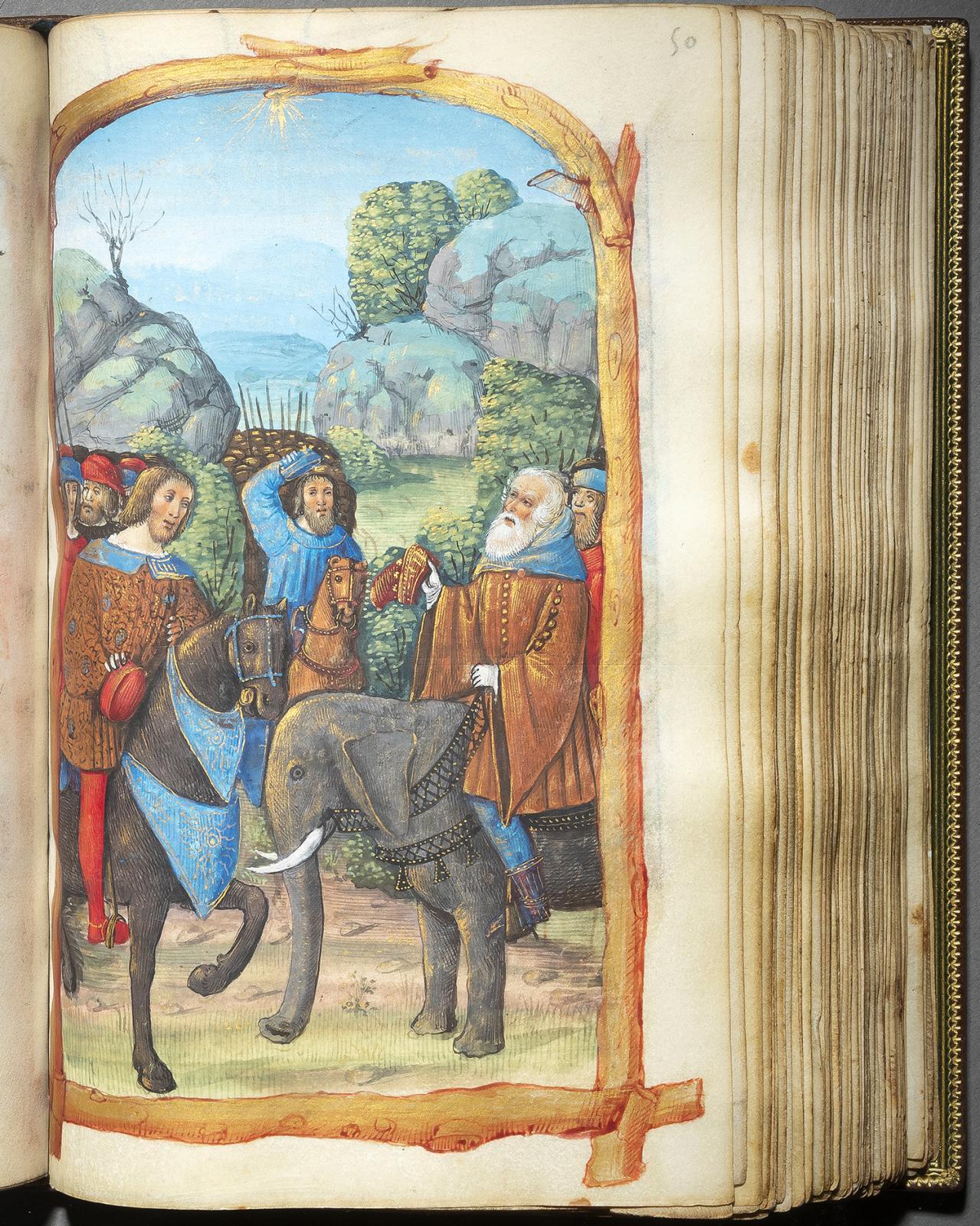 « Heures de G et H »Feuillet 50, grande miniature à pleine page, rencontre des rois mages