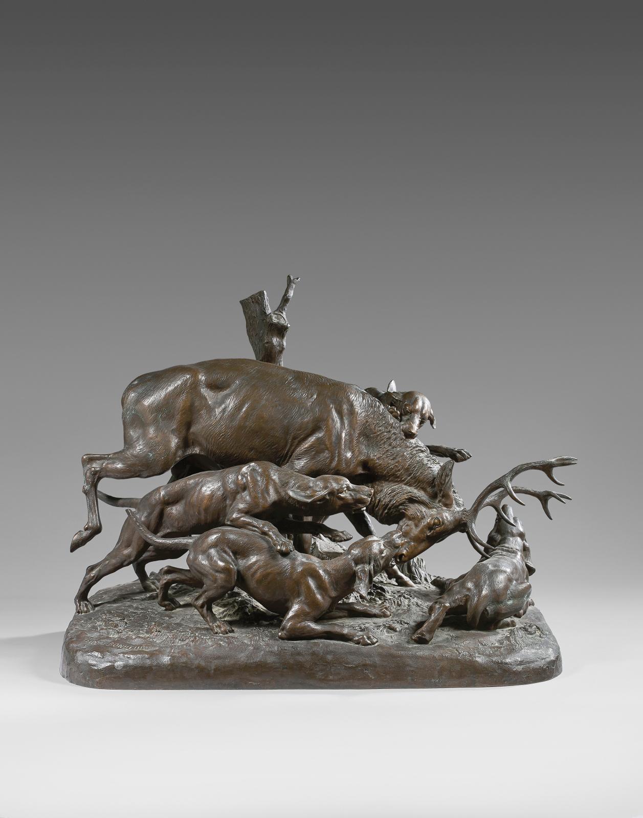 Isidore Bonheur (1827-1901), Cerf attaqué par quatre chiens, groupe en bronze à patine brune, fonte H.PeyrolFbt, 51x66cm. Estimation