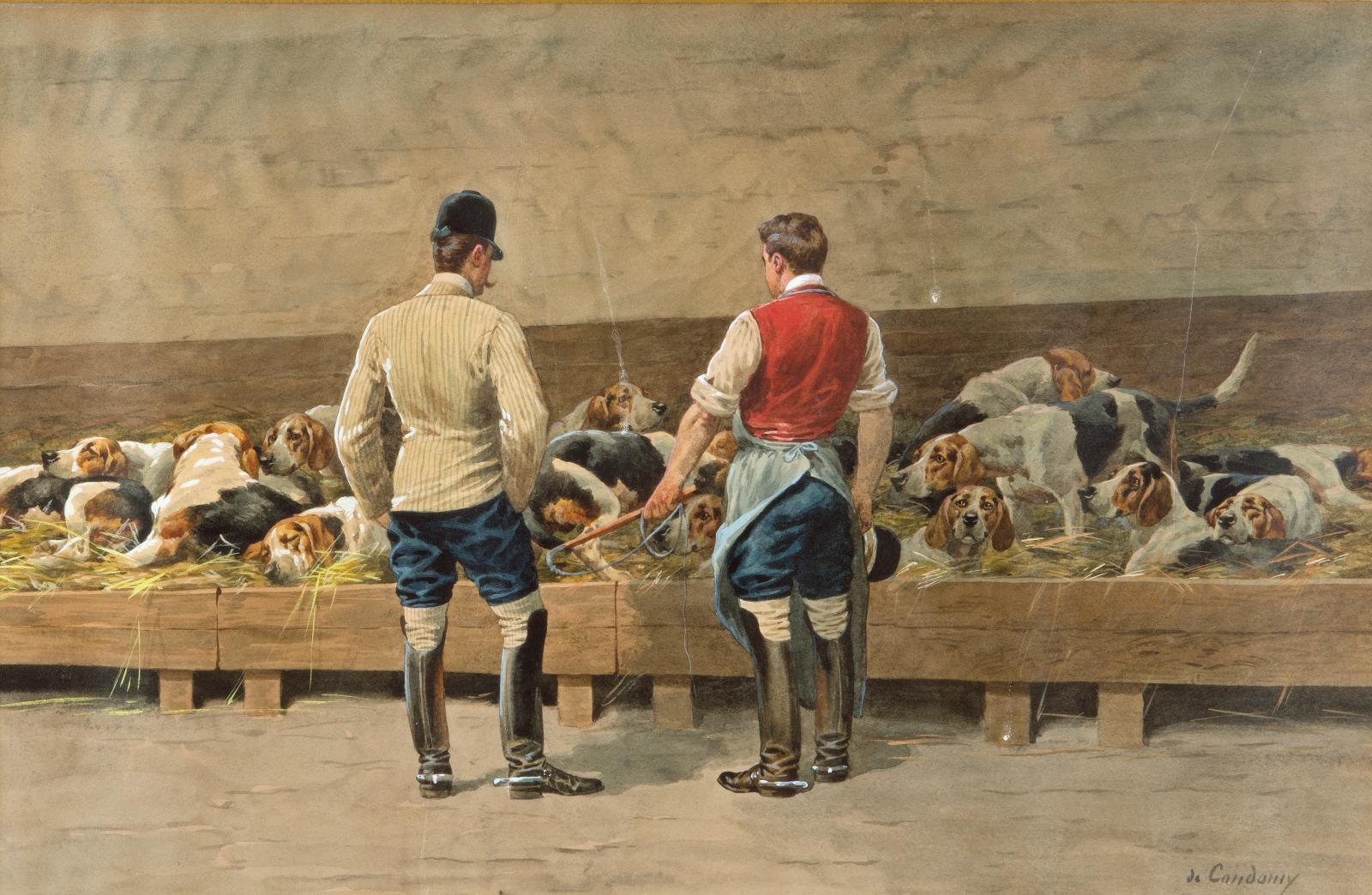 Charles de Condamy (1847-1913), Le Réveil au chenil, aquarelle faisant partie d'une paire (avec Le Départ pour la chasse), 30,5x47,5cm.