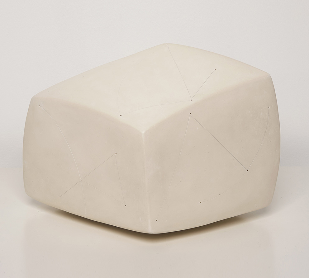 Nadia Pasquer (b. 1940), Cube Blanc Engobe (Engobe White Cube) polished porcelain, signed, 21 x 31 x 31 cm.© Louis Decamps