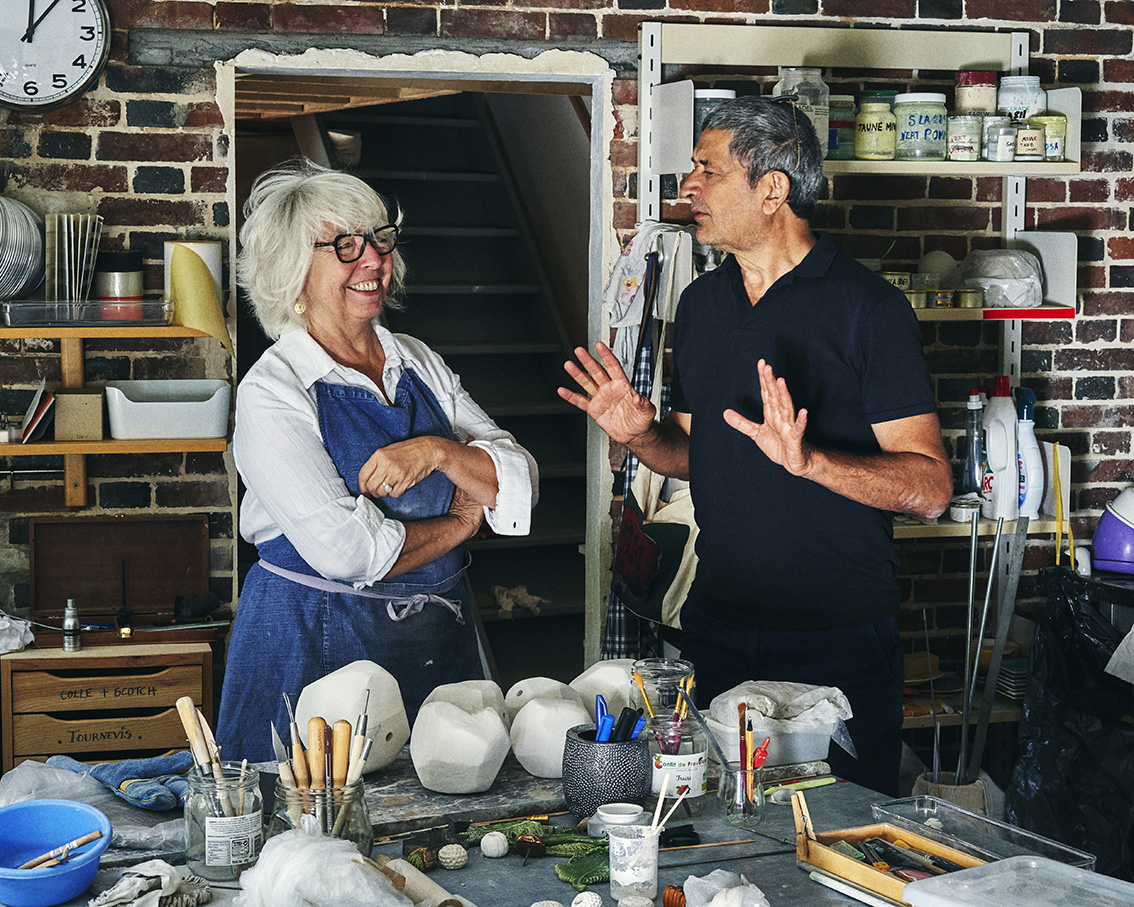 Véronique Rivemale and Jean-Marc Lelouch in the artist's studio.Photo Louis Décamps