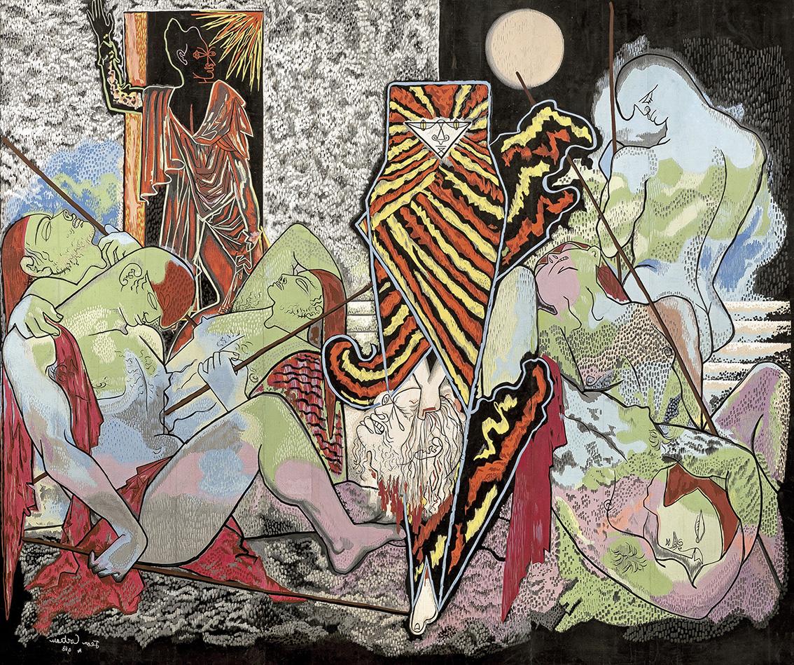 Aubusson, atelier de Joseph Bouret, d'après Jean Cocteau (1889-1963). Judith et Holopherne, 1948-1949, gouache sur papier (trois panneaux)