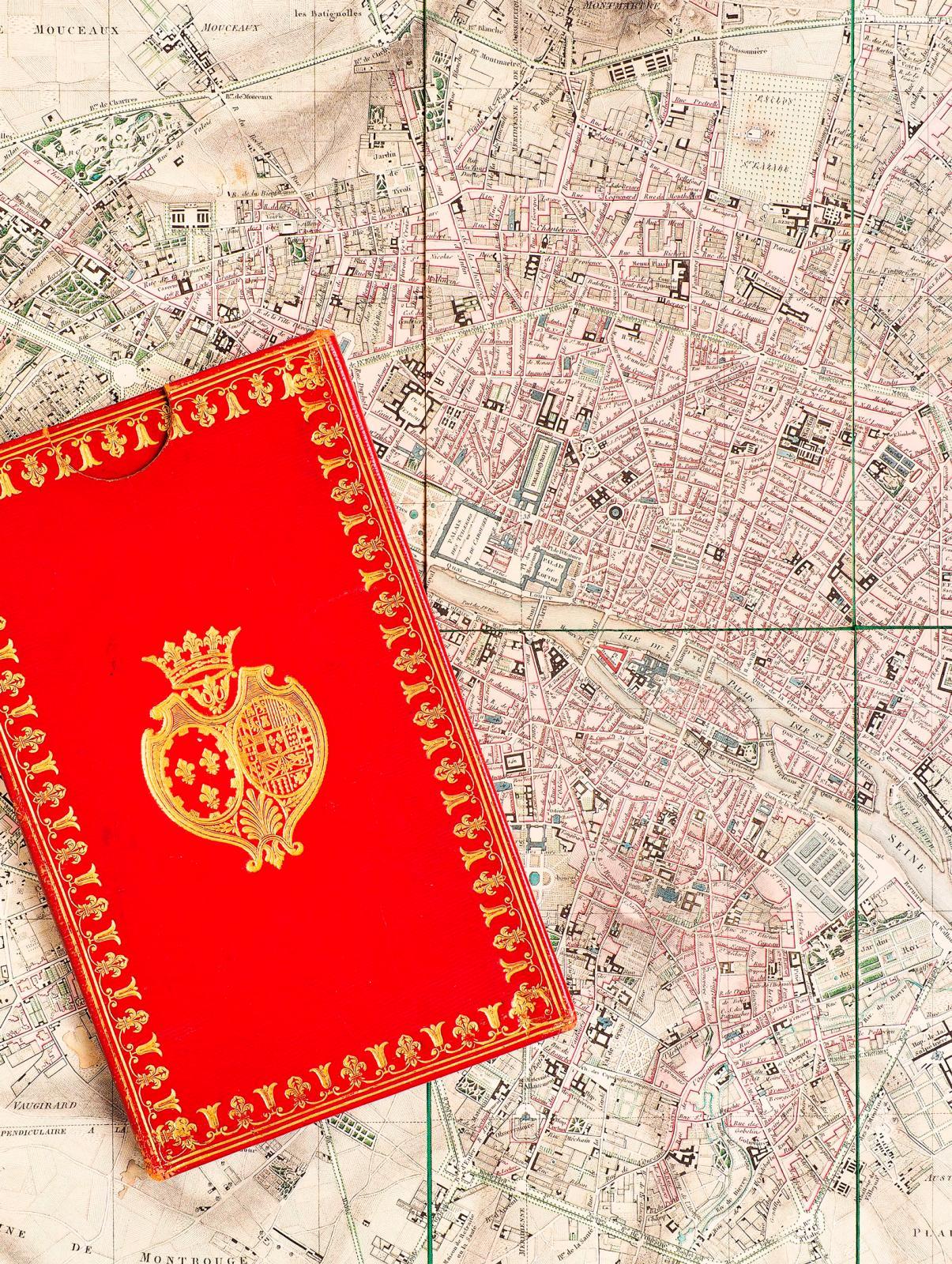 Charles Picquet,Plan géométrique de la ville de Paris, Paris, 1816, aux armes de la duchesse de Berry (Justin Croft Antiquarian Books).