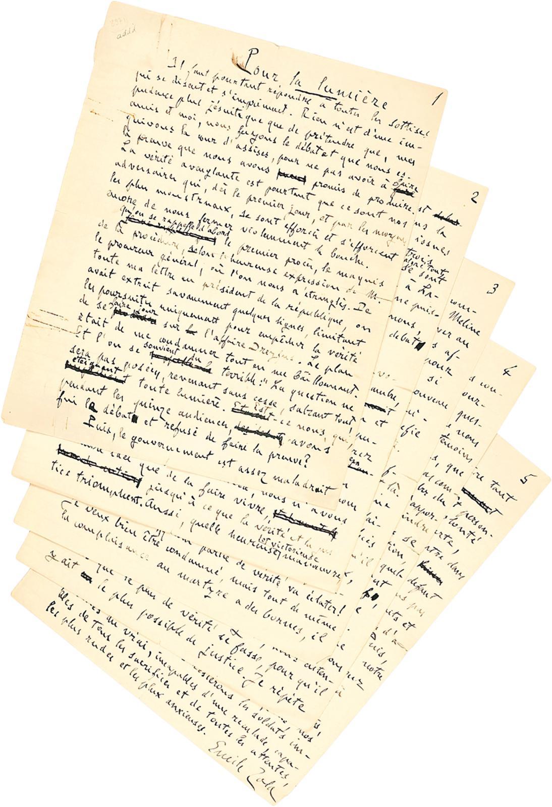 Émile Zola (1840-1902), Pour la lumière, 19 juillet 1898, Londres, manuscrit autographe signé de cinq pages (Le Manuscrit français).