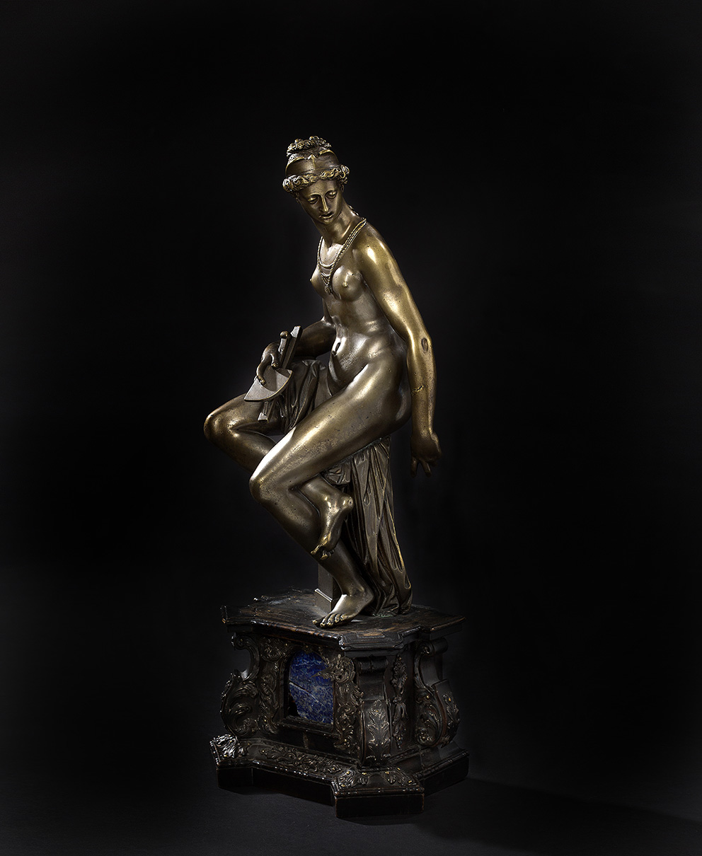 "Florence, c. 1596, Giambologna-Antonio Susini studio, allegory of Architecture in chased bronze, formerly silver-plated, signed ""GIO. BOLO"