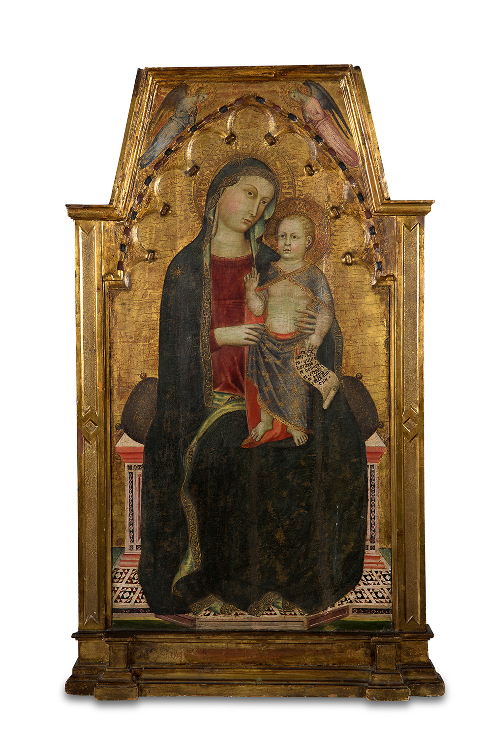Cecco di Pietro (1330-1402), Madonna and Child, Pisa, c. 1365, tempera and gold leaf on poplar wood, 110.8 x 63.2 cm (total surface area)E