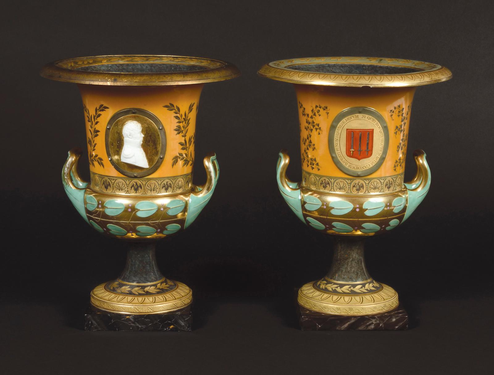 """Berlin, Empire period, pair of porcelain krater-shaped vases called """"Redensche Vase no. 0"""", embellished with biscuit bas-relief portraits"""