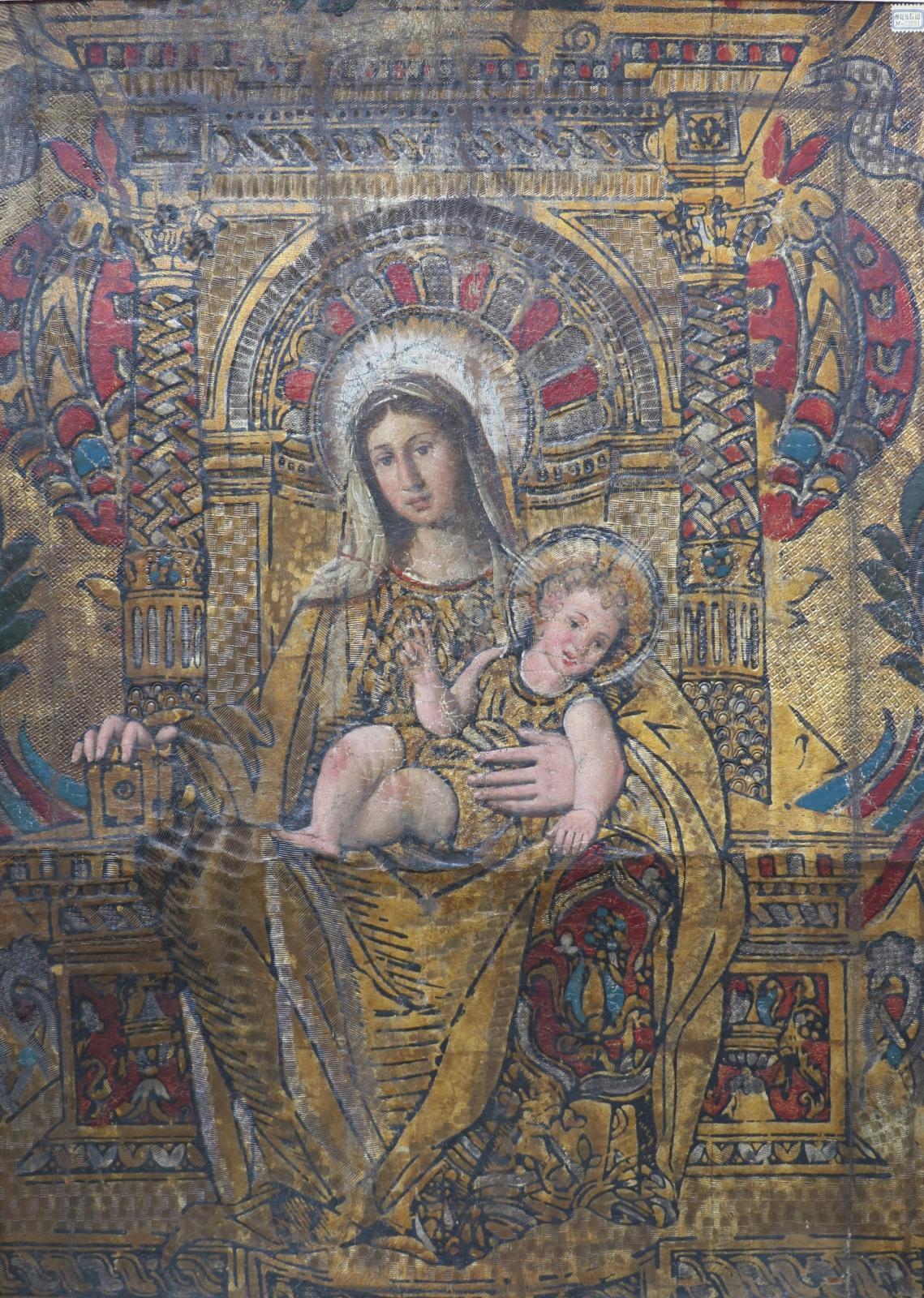 PAGE DE GAUCHE Vierge à l'Enfant, carreau de cuir doré platet ciselé, environ. Italie, XVIesiècle, 65x46cm, Saint-Pétersbourg, musée d