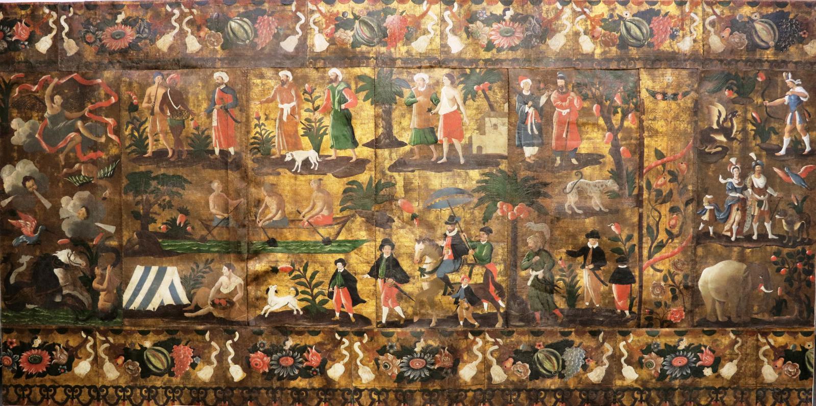 Panneau de cuir doré repoussé, Allégorie de l'Air; Mariage d'un Chinois; L'Afrique. Avignon, atelier de Raymond Boissier,premier quart