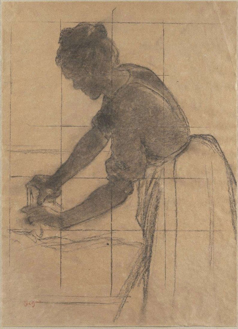 Edgar Degas, Repasseuse à contre-jour, c. 1874, charcoal drawing, 42 x 30.5 cm.Estimate: €60,000/80,000© BINOCHE ET GIQUELLO, Paris, 2020