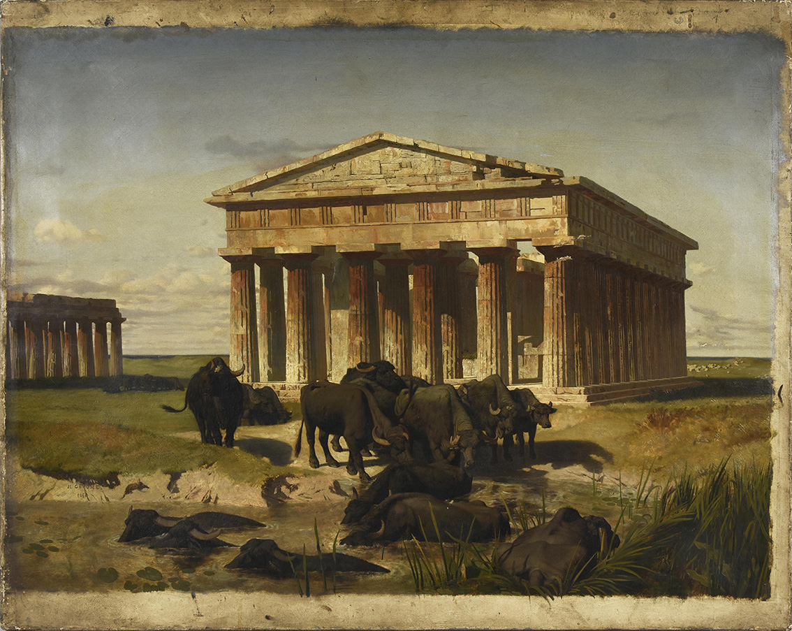 Jean-Léon Gérome, Herd of buffaloes, countryside of Paestum, 1851, oil on canvas, 65 x 81 cm.Estimate: €15,000/20,000© COUTAU-BÉGARIE & AS