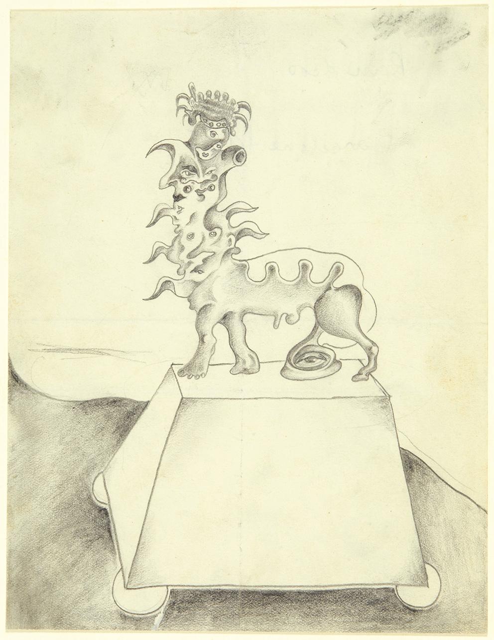 Remedios Varo Uranga (1908-1963), Monument à une voyante, Barcelone, 1935,dessin au crayon noir et estompe, 17,5x13,7cm. Estimation: 5