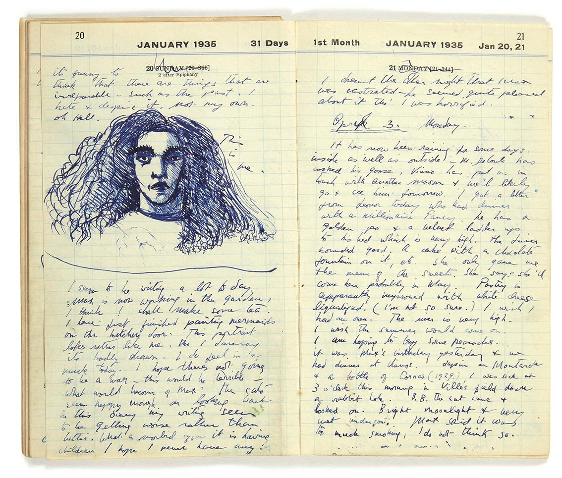 Leonora Carrington (1917-2011), Journal intime Hazelwood, Saint-Martin-d'Ardèche, janvier 1935 - juillet 1939, manuscrit autographe de 43