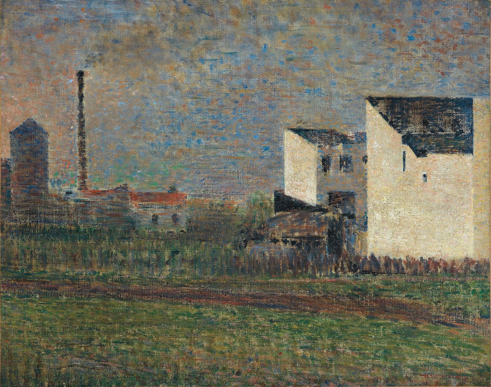 Georges Seurat(1859-1891), La Banlieue, vers 1882, huile sur toile, 32,4x40,5cm, Troyes, musée d'art moderne, collections nationales P