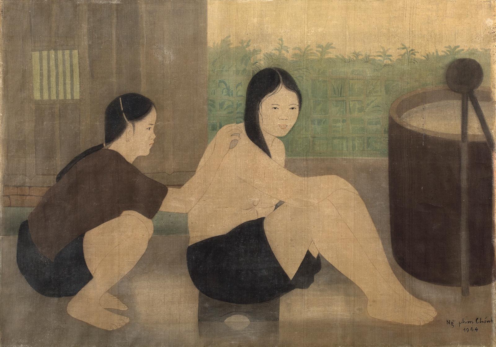 Associant toujours encre et couleurs, cette peinture sur soie de Nguyen Phan Chanh(1892-1984) a été acquise auprès de la famille de l'arti