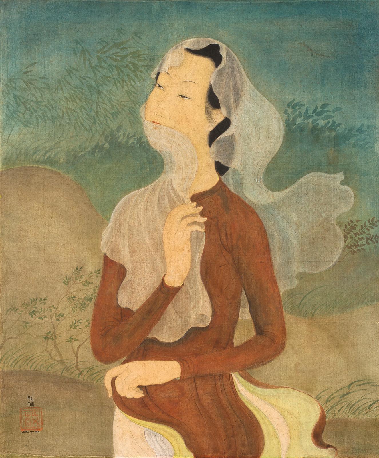 Sept encres et couleurs sur soie de Mai Trung Thu (1906-1980) sont au programme. Toutes représentent des femmes et des enfants, dans la si