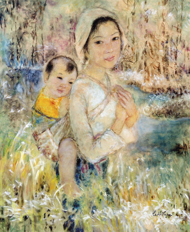 Lê Thi Luu(1911-1988), La Maternité, peinture sur soie, 54x44,5cm. Lot présenté par DeBaecque etAssociésOVV. Adjugé: 153600€