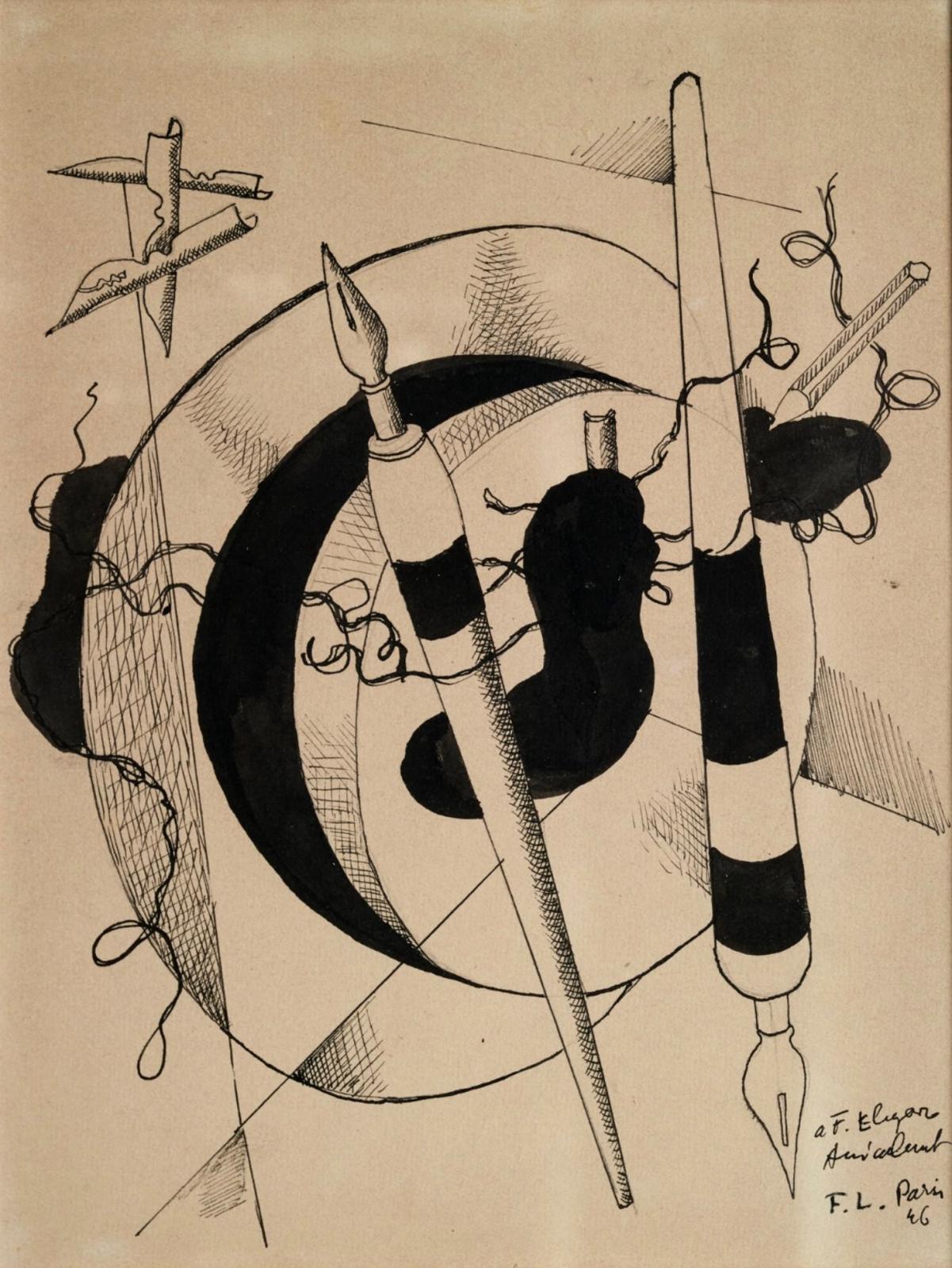 « Composition aux porte plumes et crayon » 1946Encre sur papierSignée des initiales, situé Paris et datée 46 ainsi qu'un envoi « a F. Elga