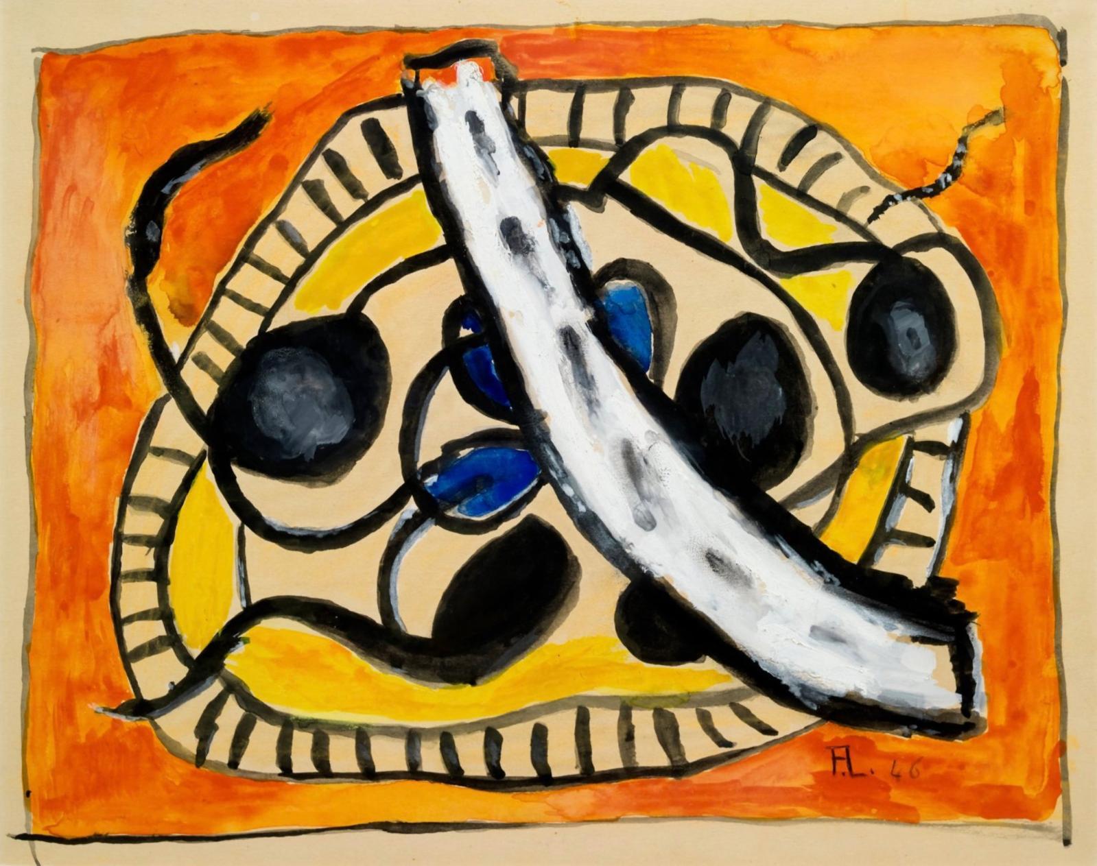 « L'assiette de fruits » 1946Gouache sur papierSignée des initiales et datée 46 en bas vers la droite28 x 36 cmVendue 14 080 €