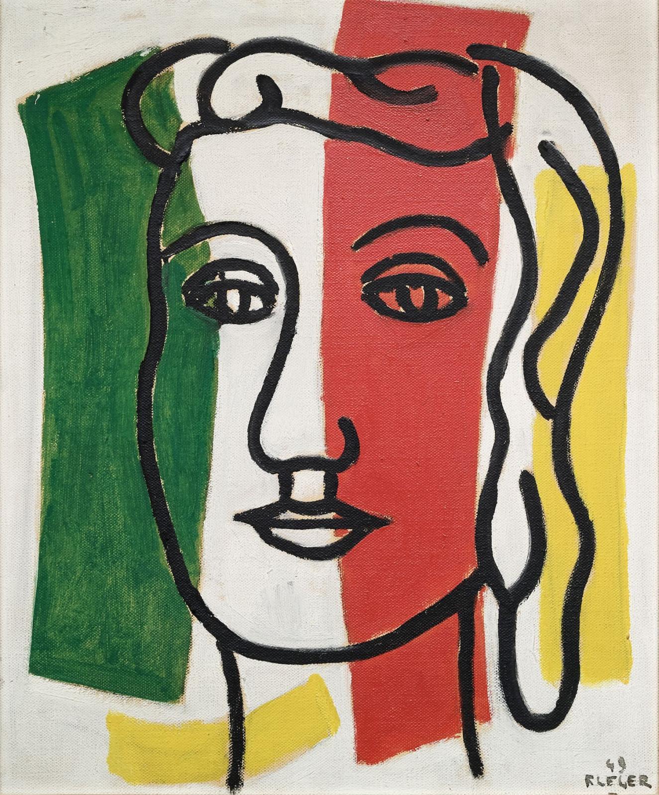 « Portrait de Marguerite Lesbats » 1949Huile sur toileSignée F. LÉGER et datée 49 en bas à droite46 x 38 cmVendu 332 800 €