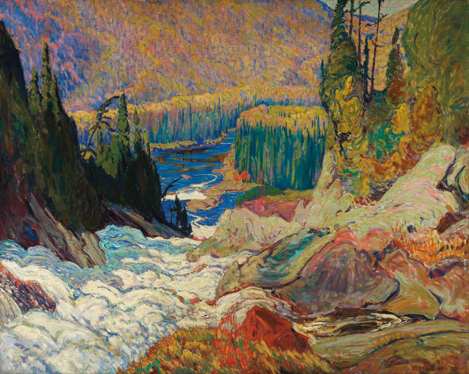 J.E.H.MacDonald, Falls, Montreal River, 1920, huile sur toile, musée des beaux-arts de l'Ontario.