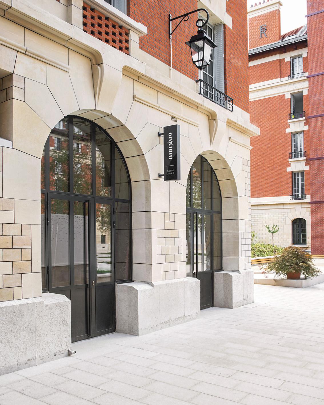 La galerie Marguo, installée dans un ancien complexe militaire réhabilité par la Ville de Paris. Courtesy galerie Marguo