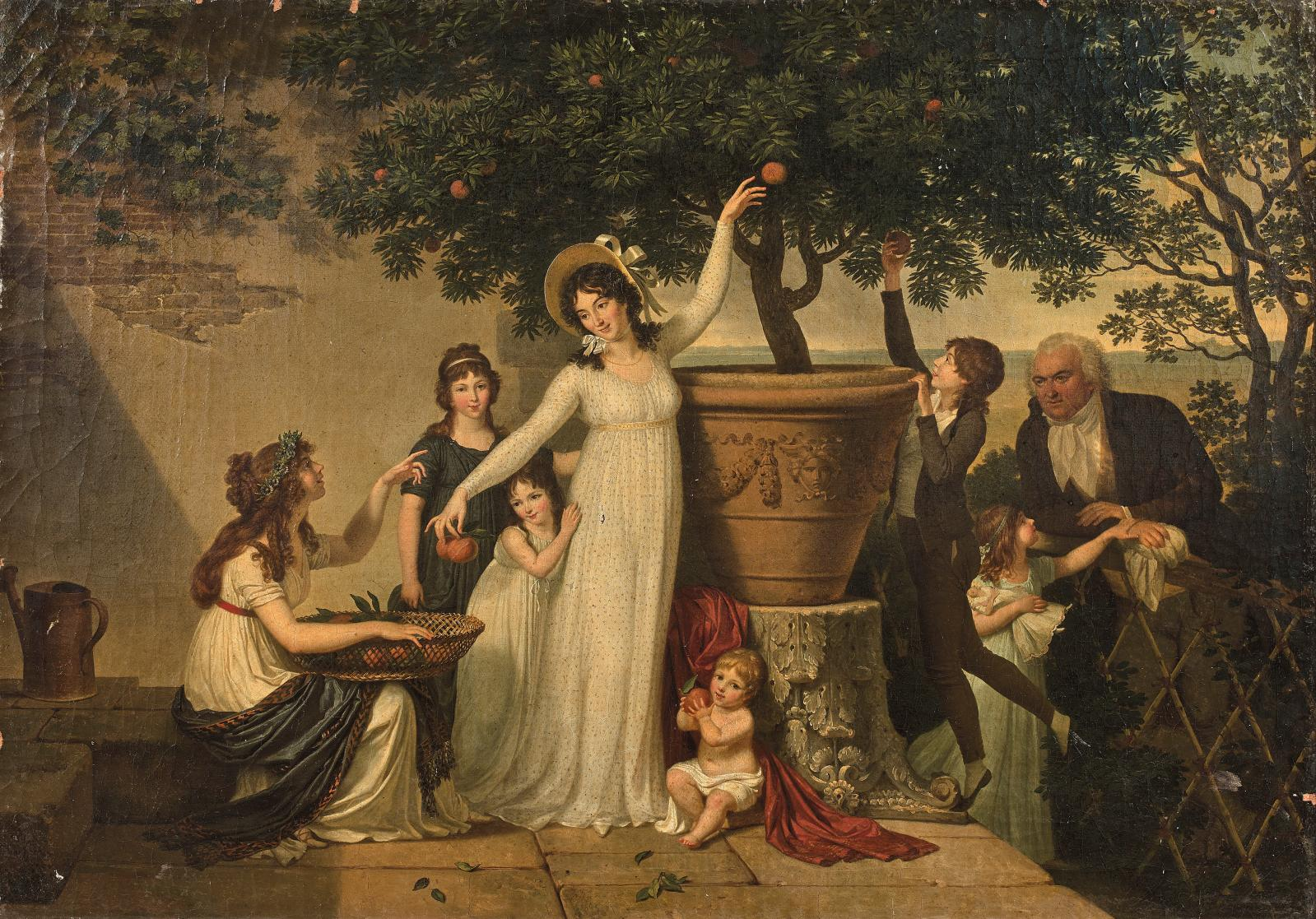 Louis Gauffier (1762-1801), La Cueillette des oranges ou Réunion de famille d'un diplomate accrédité en Italie sous le Directoire, 1797-17