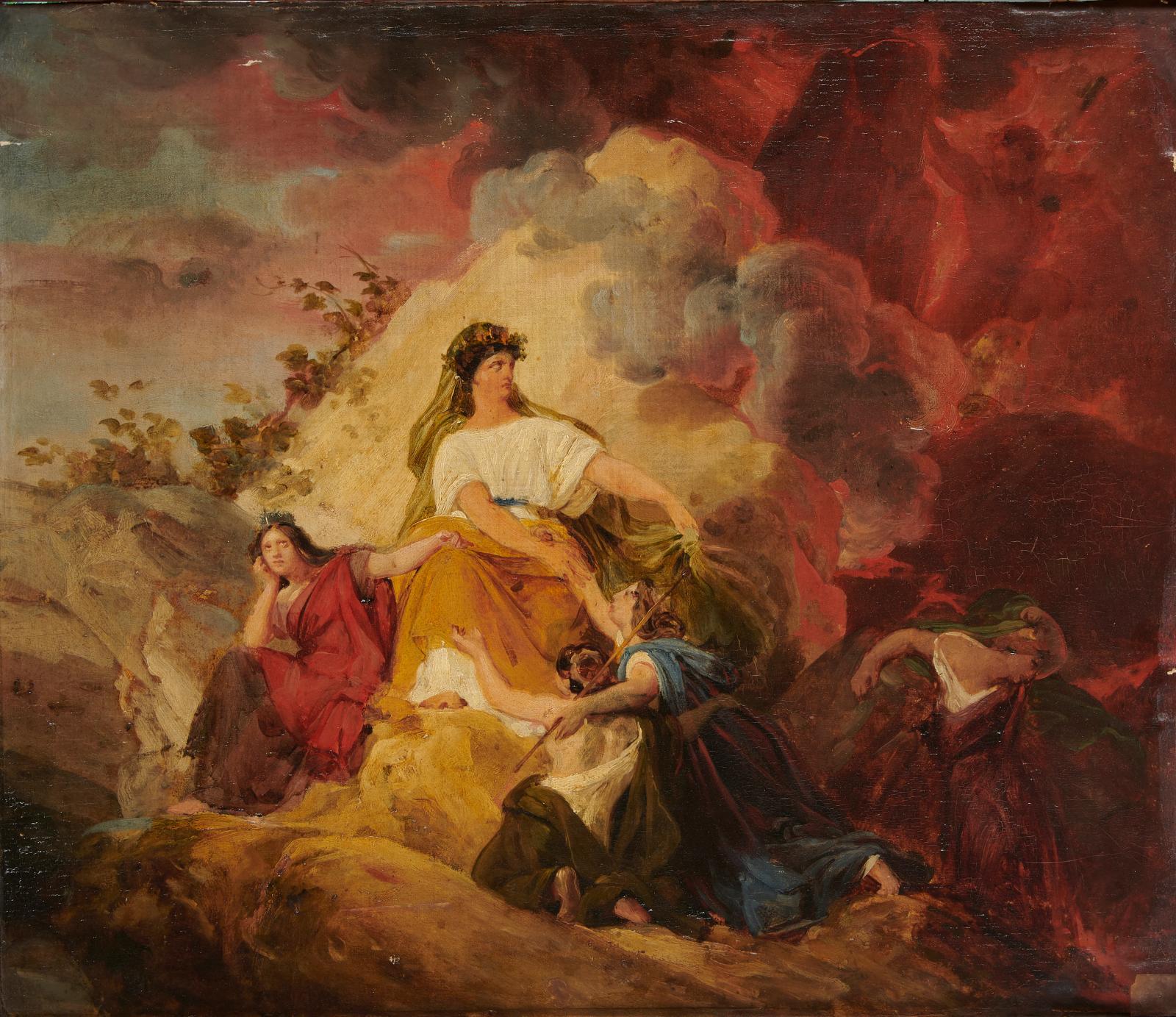François Édouard Picot (1786-1868), Cybèle protège contre le Vésuveles villes de Stabiæ, Herculanum,Pompéi et Résina, huile sur toilema