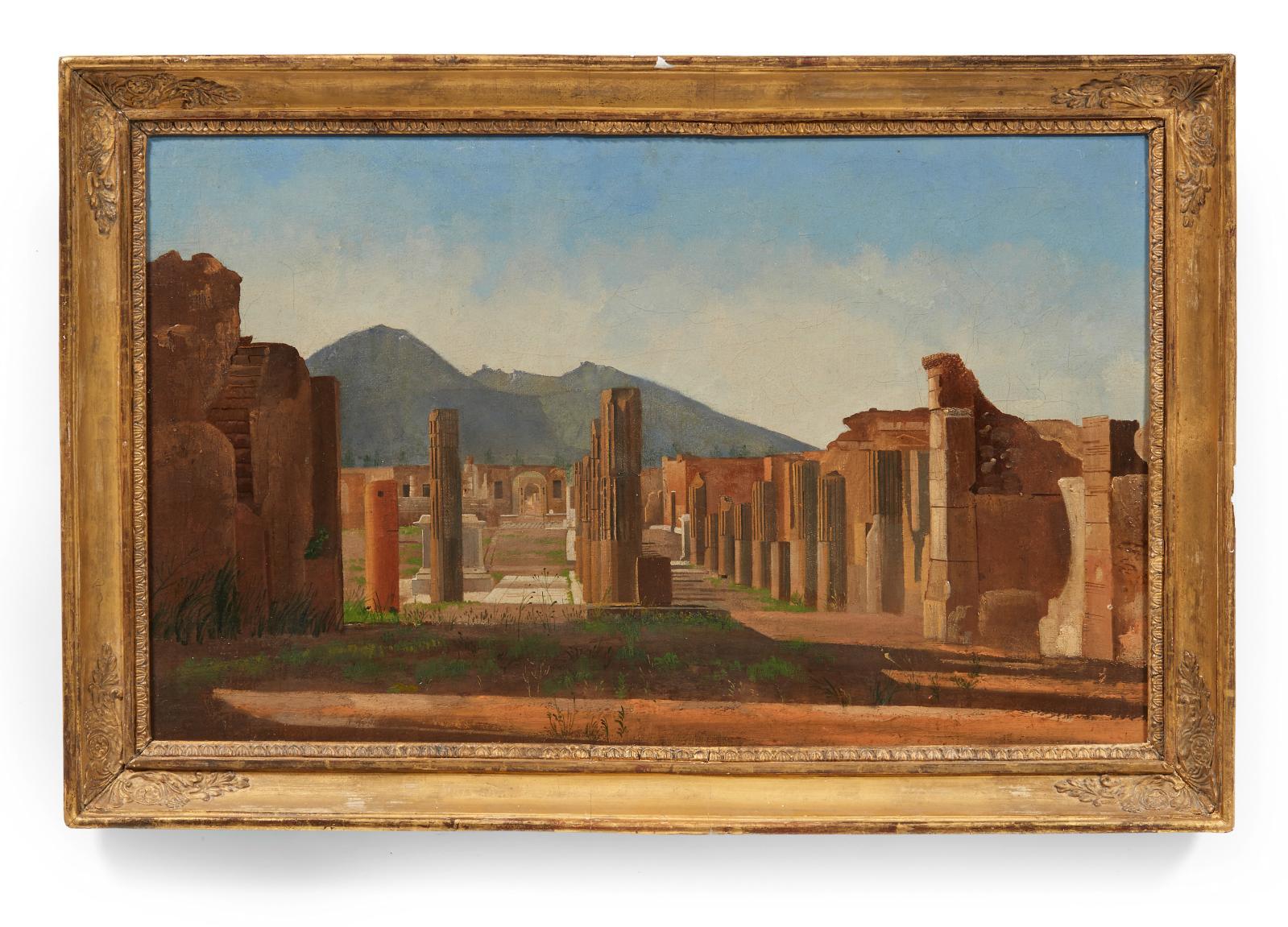 Attribué à Christen Kobke (1810-1848), Vue du forum de Pompéiavec le Vésuve en arrière-plan, huile sur toile, 27,5x44cm. Paris, Drouot