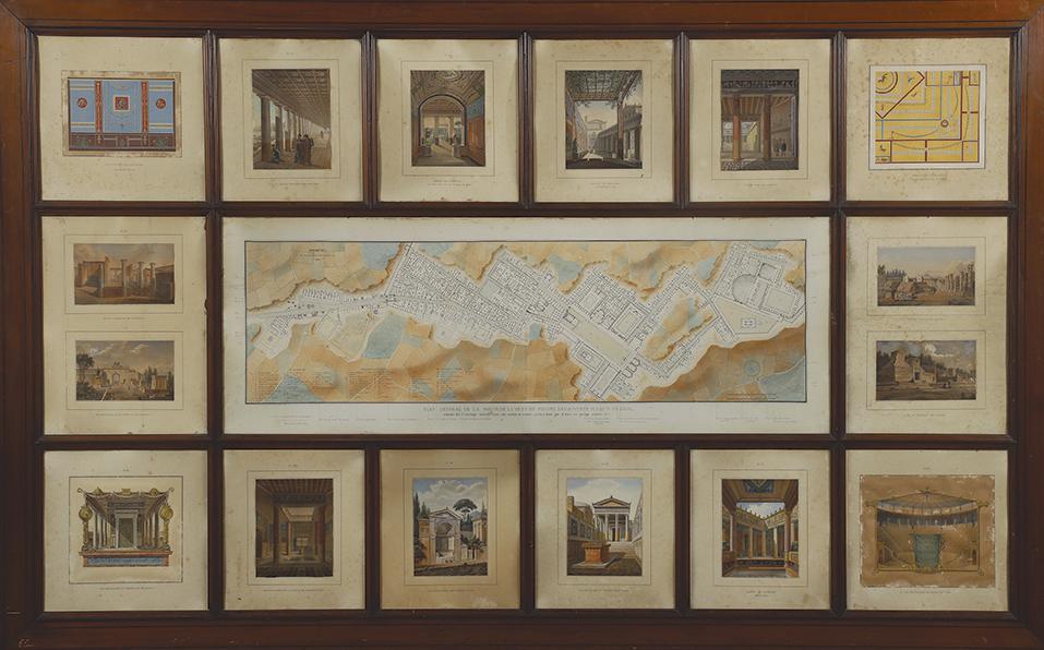 Pompéi, plan manuscrit aquarellé et légendé, 27,5x93cmenv.,entouré de seize vues en chromolithographie légendées à la main, vers1840