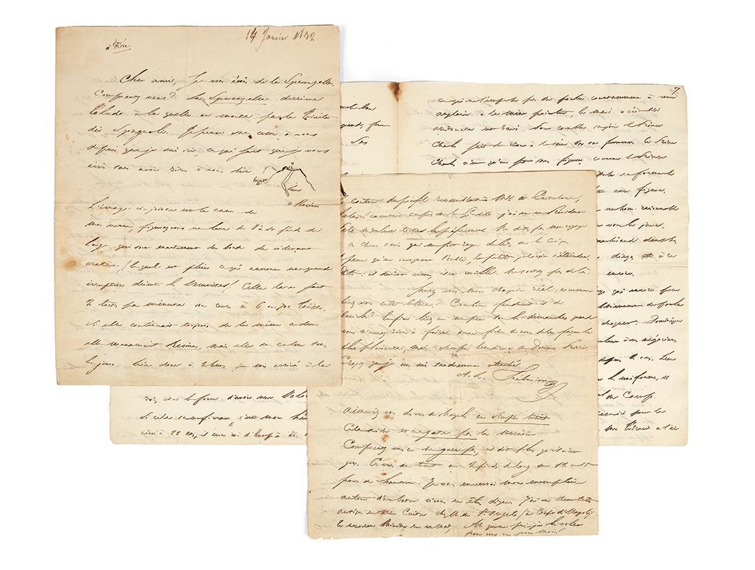 Stendhal (1783-1842), lettre autographe adresséeà Domenico Fiore, Naples, 14 janvier 1832,12pages in-4°. Paris, Drouot, 26 avril 2017.