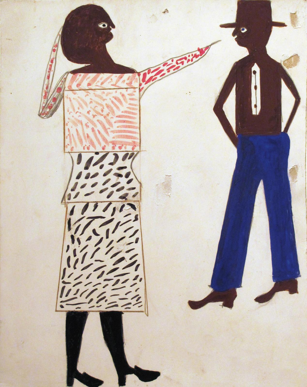 Bill Traylor,Untitled - Femme pointant, 1938-1943, crayons, feutres et aquarelle sur carton récupéré, 35,5x28cm. COURTESY CARL HAMMER