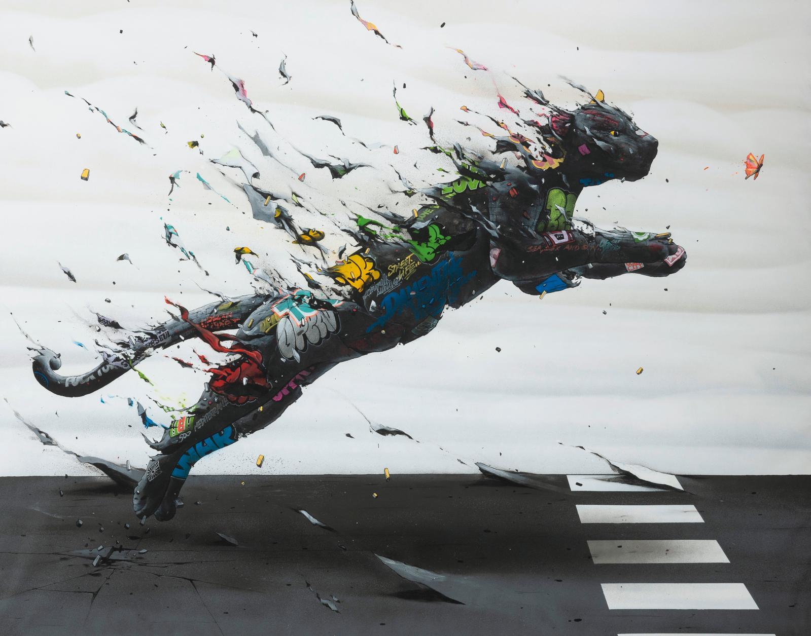 Brusk (né en 1976), Sans titre, 2018, acrylique et peinture aérosol, 113,5 x 145 cm.Estimation: 7000/9000€
