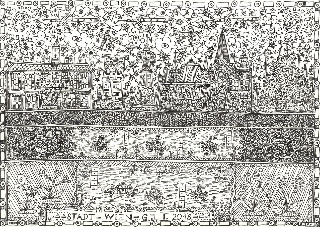 Johann Garber (b. 1947), Stadt Wien, 2018, Indian ink, 29.7 x 42 cm.COURTESY GALERIE GUGGING (MARIA GUGGING)