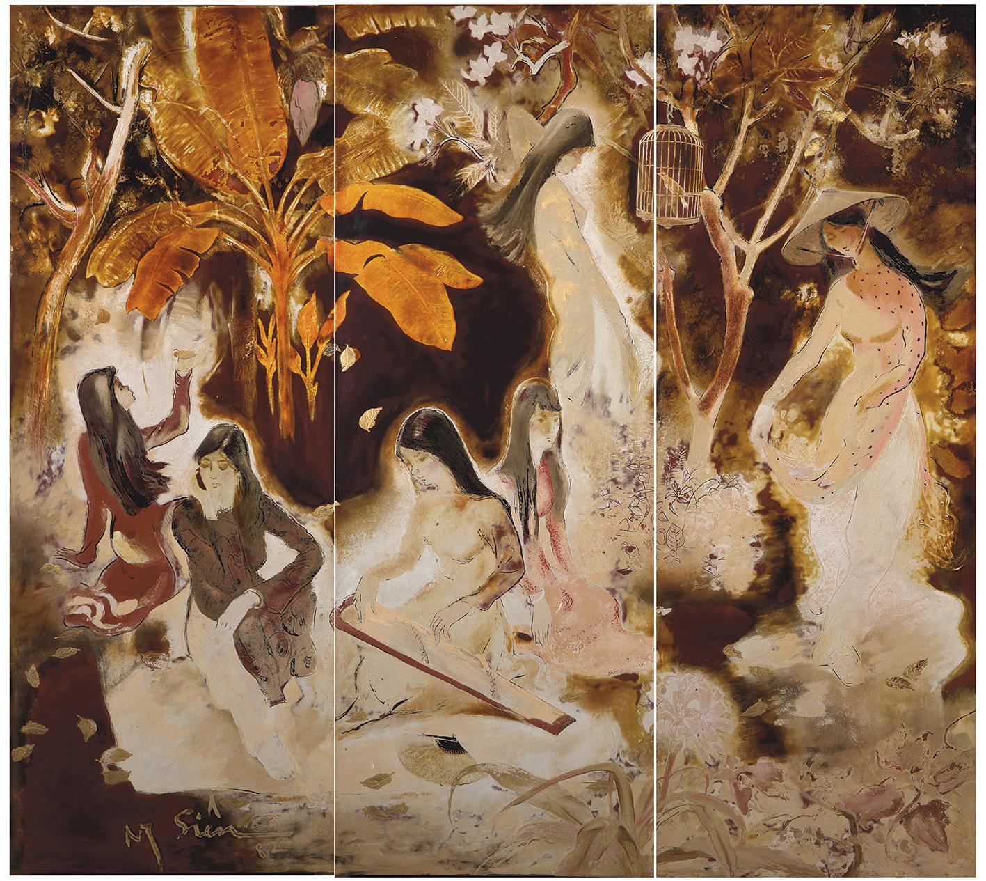 Réalisé plus tardivement que les autres œuvres vedettes de cette dispersion – entre 1950 et 1970 –, ce triptyque en laque artistiquement t