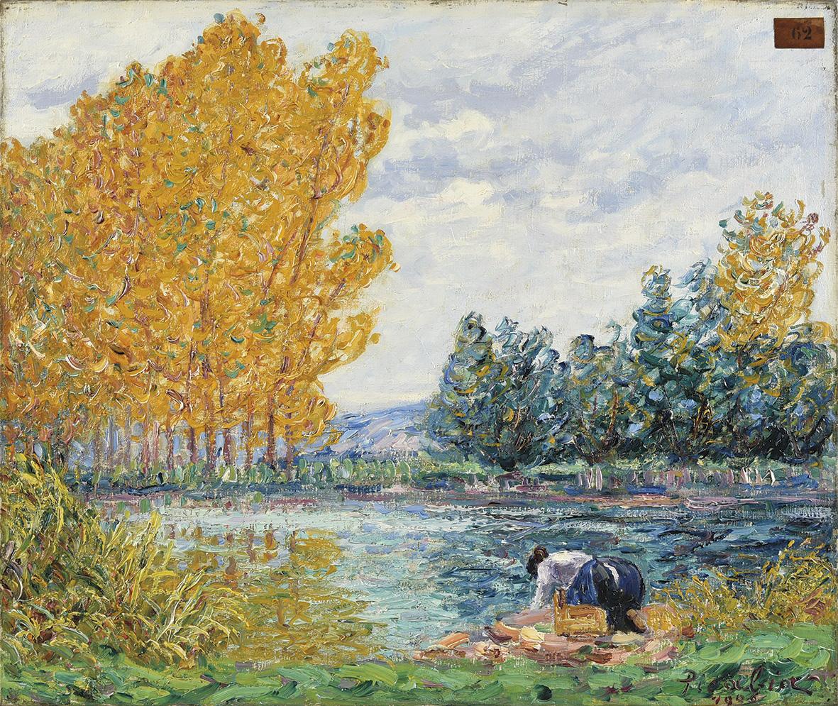 La saison dans son aspect lumineux souriait à Francis Picabia(1879-1953), dont cette Laveuse, Villeneuve-sur-Yonne, effet d'automne, pein