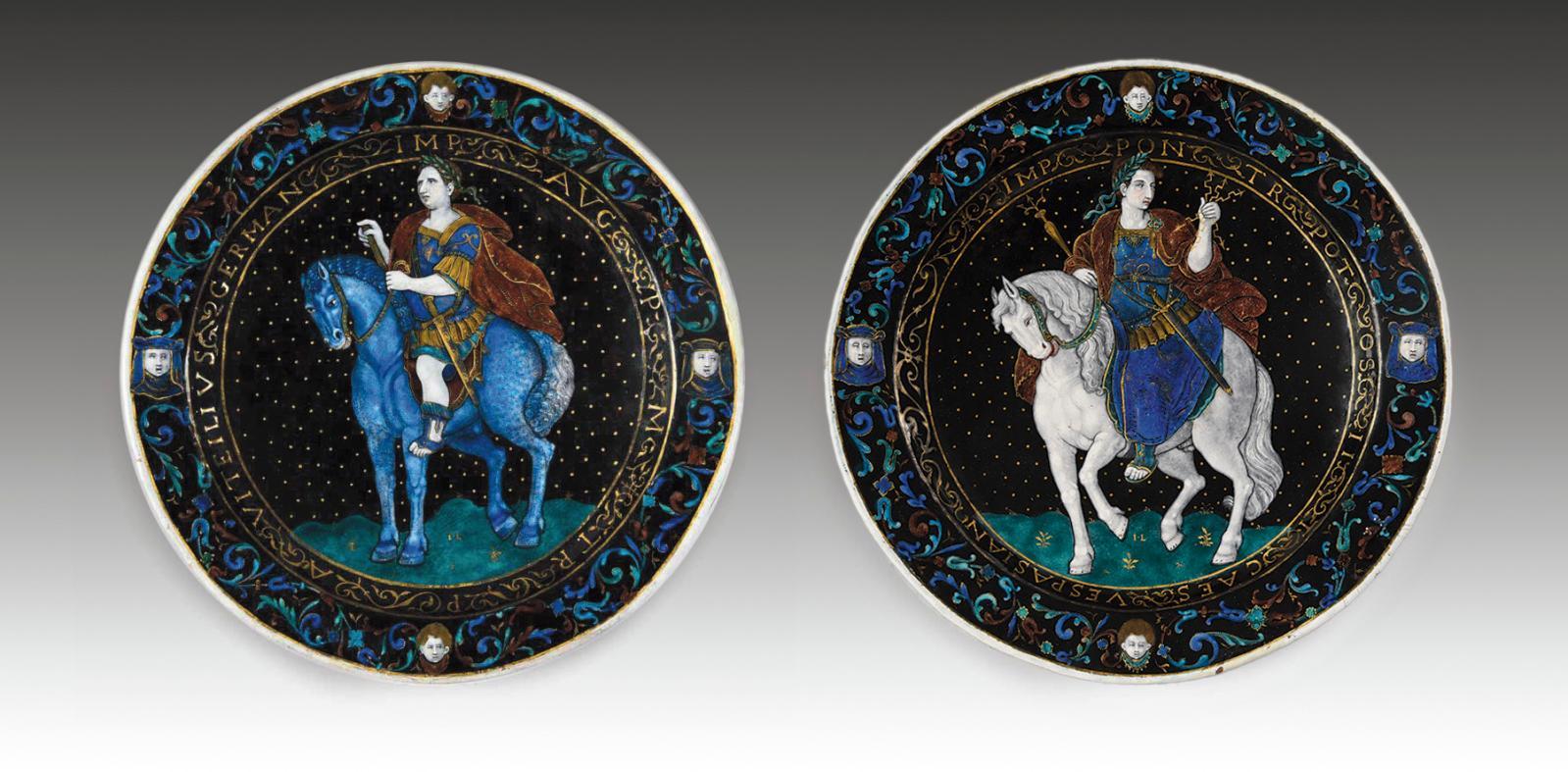 Ces deux assiettes données à l'émailleur Jean Limosin (vers 1528-1610), ornées chacune d'un empereur romain à cheval et appartenant sans d