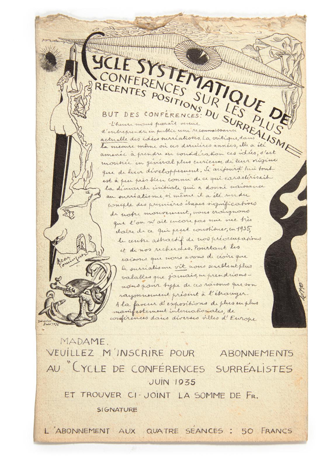 André Breton (1896-1966), Cycle systématique de conférences sur les plus récentes positions du surréalisme, 1935, manuscrit autographe du