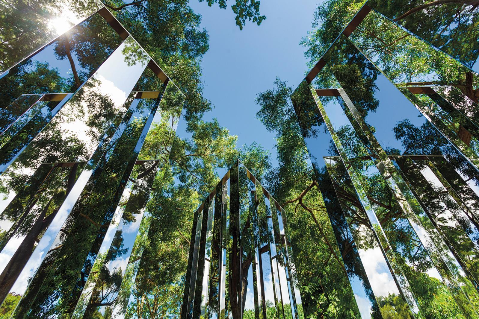 Jeppe Hein (né en 1974), Dimensional Mirror, jardin des sculptures, Fondation Clément. ©Jean-François Gouait
