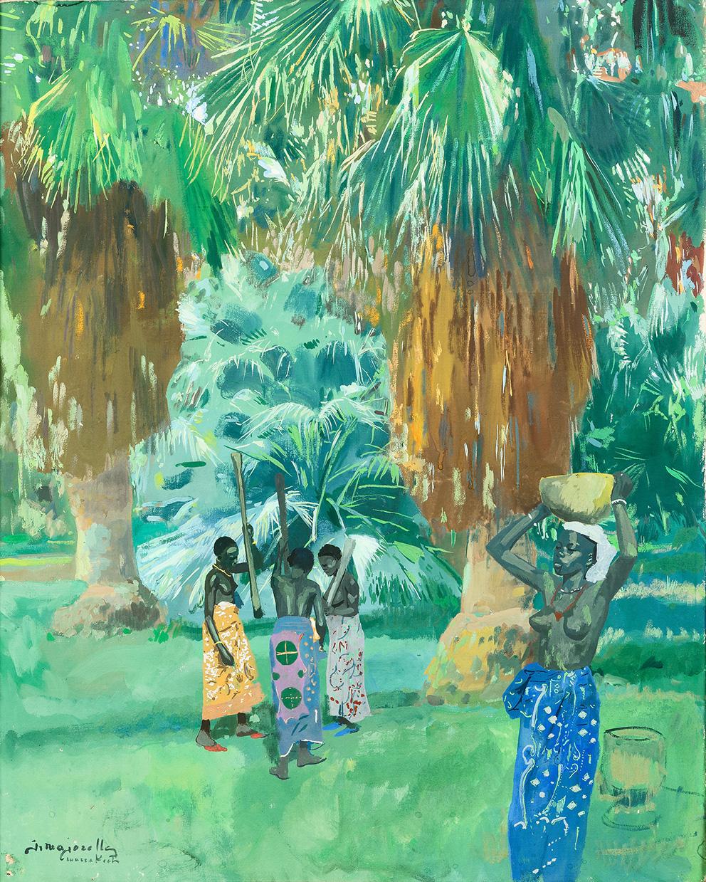 Jacques Majorelle (1886-1962), Pileuses de mil dans la palmeraie de Marrakech, vers 1947, huile sur toile, signée et située, 92x74cm (d
